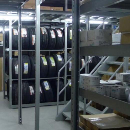 Auto parts warehouse shelves